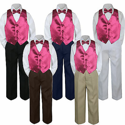 3pc Boy Suit Set Burgundy Maroon Bow Tie Baby Toddler Kid Formal Shirt Pants S-7