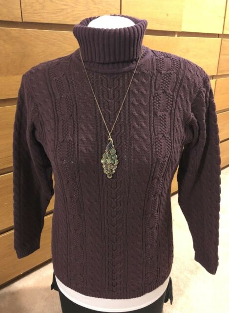 6339ddfffc Jeanne Pierre Petites women s Purple Cotton Cable Knit Turtleneck sweater  size P