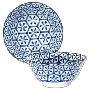 "2 PCS Made in Japan Japanese 6/""D Ceramic Blue Swirl Donburi Soup Rice Bowls"