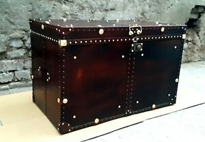 Handmade-Leather-Brown-Antique-Finest-Leather-Trunk-With-Key-Leather-Box