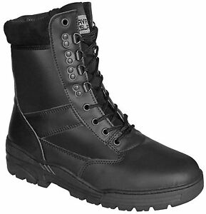 Black-ALL-LEATHER-Army-Combat-Patrol-Boots-Tactical-Cadet-Military-Security-903