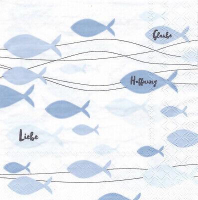 Servietten 33x33 20St. Kommunion Konfirmation Taufe Fische rosa weiß 32