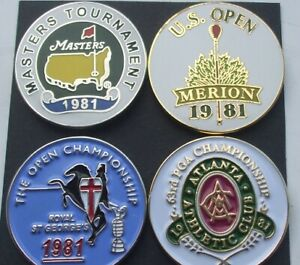 SET of 4 FLAT 1' Golf ball marker 1981 Majors US Open, PGA, Masters etc FREEPOST
