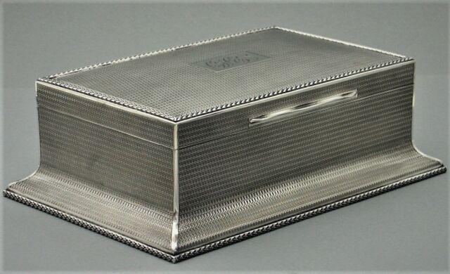 Monumentale Art Deco Zigarren Kiste 925er Silber England Silver Cigar Box (P127)