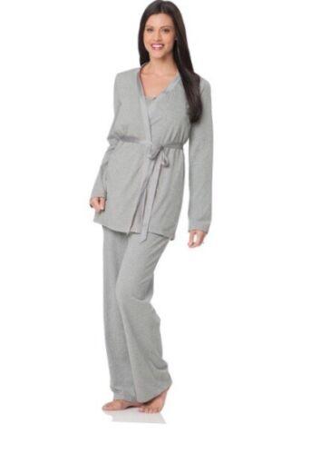 BNWT Ladies Motherhood 3 Piece Maternity Pyjamas Set Uk Size 8 Grey