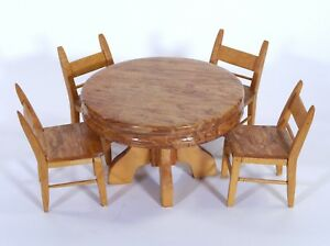 Details about VTG 5 Piece Handmade Wood Doll Furniture - Dining Room  Table/Chairs 7\