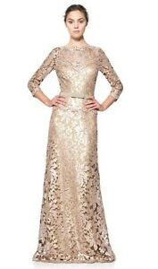 Image Is Loading Tadashi Shoji Lace Dress Gown Sequin Gold