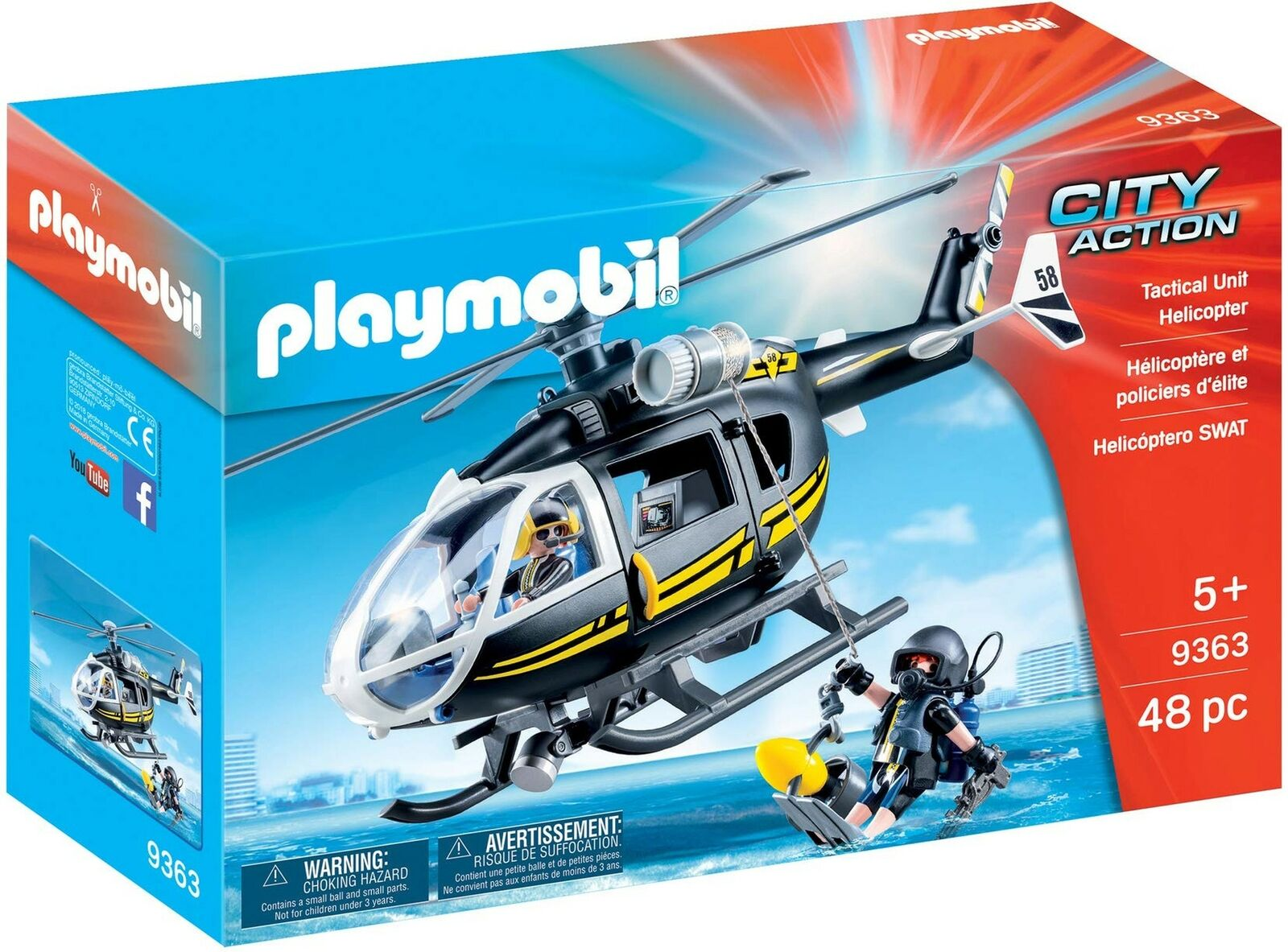 Playmobil 9363 City Action SWAT Helicopter with Working Winch Winch Winch 66af18