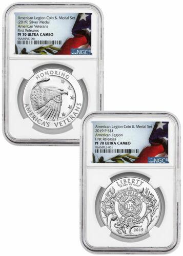 2 PC 2019P American Legion Silver Dollar /&Medal NGC PF70 UC FR SKU58170