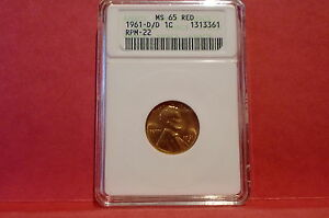 1961- D/D Lincoln Cent RPM-22- ANACS 65 RED