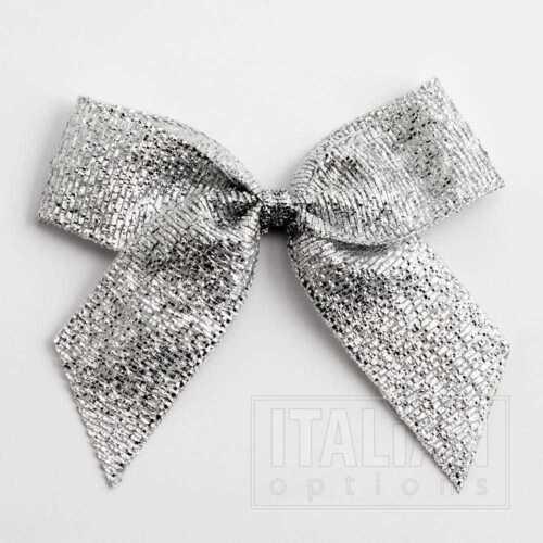 Packets of 6-12 Metallic Silver 5cm Lurex Ribbon Bow SELF ADHESIVE