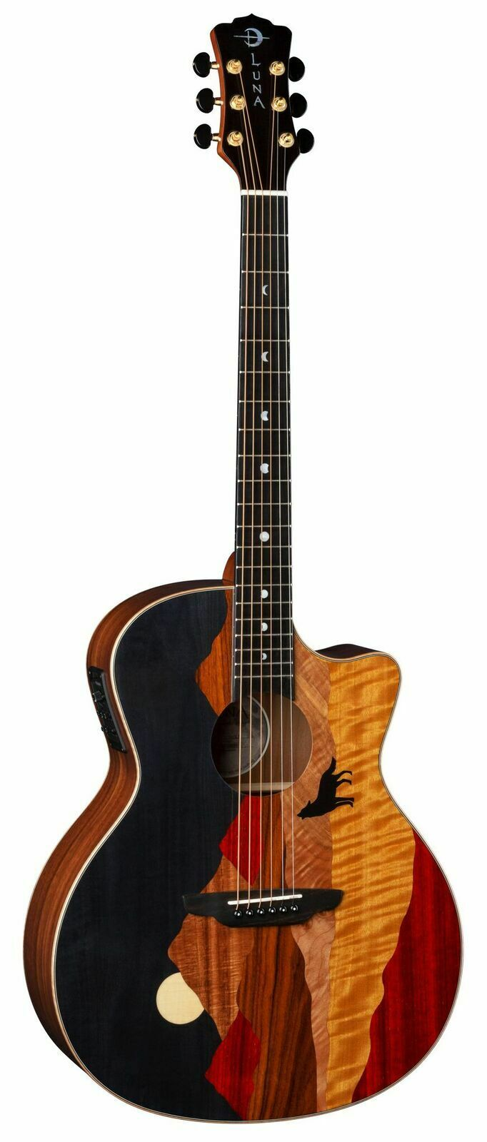New Luna Vista Wolf Tropical Wood A E Guitar w case- Free Shipping