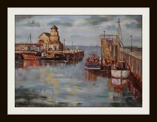 Fishing Boats Girvan Original Marine Oil Painting by Kevin Corroue 30cm X 21cm