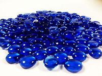 10 Pounds Royal Blue Glass Mosaic Pebbles, Flat Bottom Aquarium Marbles