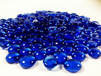 10 Pounds Royal Blue Glass Mosaic Pebbles, Flat Bottom Aquarium Marbles