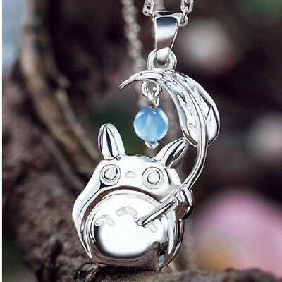Studio Ghibli My Neighbor Totoro w Umbrella Silver Pendant Necklace Cosplay