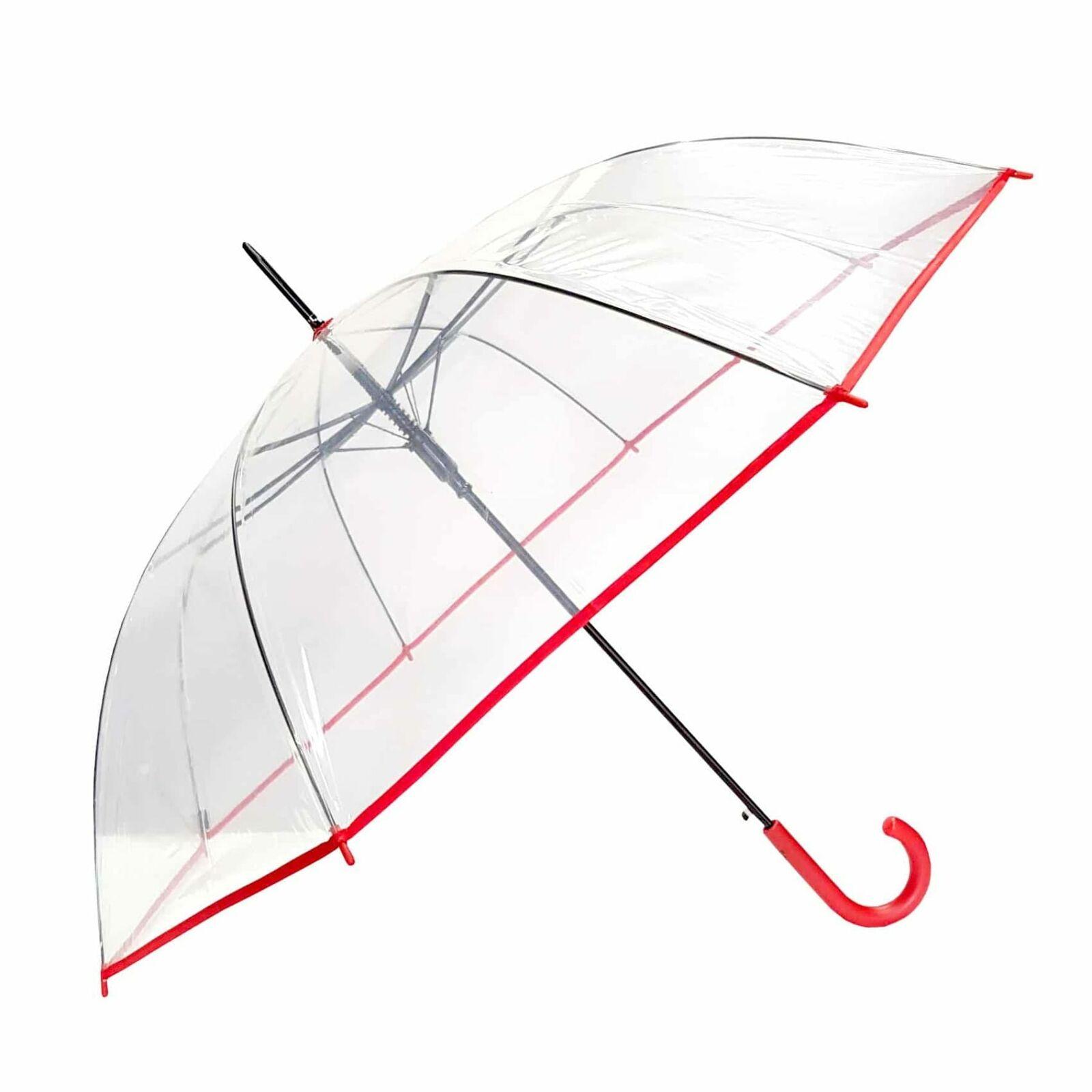 Shelta Auto Long POE Birdcage Clear Red Trim Umbrella