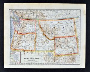 washington idaho montana map 1896 Mathews Northrup Map Washington Oregon Idaho Montana Wyoming washington idaho montana map