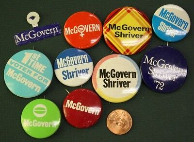 1972 Democratic George McGovern for President 10 pin & tab set-ALL ARE DIFFERENT