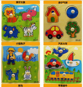 US STOCK Toddler Newborn Infant Animal Cognize Wooden Colorful Brick Puzzle Gift