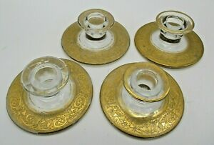 4-Cambridge-Glass-Gold-Trim-Candle-Holders-Vintage