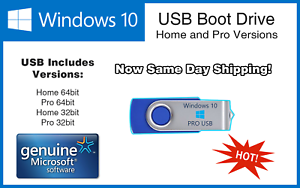 Details about Microsoft Windows 10 Pro/Home 64/32bit USB Boot Drive INSTALL  REPAIR RECOVER PC