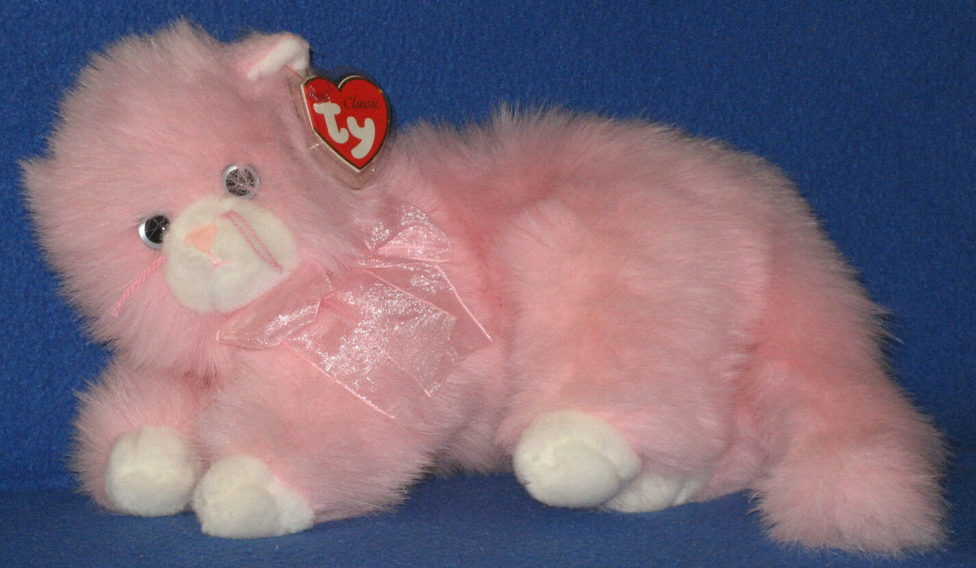 TY CLASSIC PLUSH - MUFFET the PINK CAT – MINT with NEAR MINT TAG