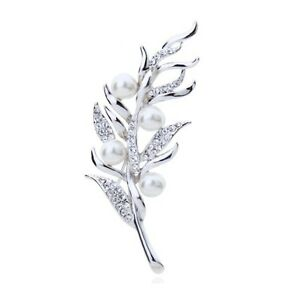 STUNNING-18K-WHITE-GOLD-PLATED-AND-GENUINE-AUSTRIAN-CRYSTAL-amp-PEARL-BROOCH