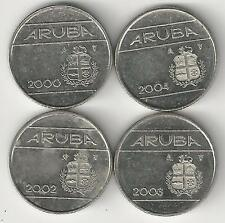 4 DIFFERENT 10 CENT COINS from ARUBA (2000, 2001, 2002 & 2003)