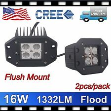 2X 16W CREE LED POD LIGHT SQUARE LAMP CUBE BUMPER FLOOD FLUSH MOUNT DRIVING SPOT