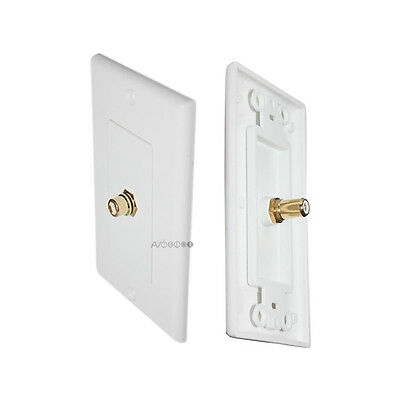 Single RCA Connector Wall Plate for Subwoofer Speaker (White), 24K Gold Plated