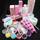 Professional Acrylic Glitter Powder Glue File French Nail Art UV Gel Tips Kits