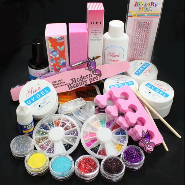 Pro Nail Art Set Acrylic Glitter Powder Glue File French  UV Gel Tips Kit Set