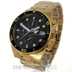 84823989579 Image is loading NEW-MENS-EMPORIO-ARMANI-GOLD-CHRONOGRAPH-WATCH-AR5857-