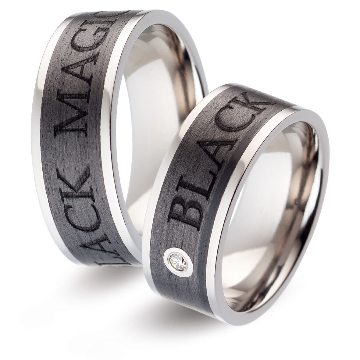 Titanfactory Titan Wedding rings with TF130 Carbon 1 Brill. set 0.03 ct. w si