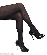 Ladies Designer Opaque Ribbed Tights One size 8-14 uk, 36-42 eur Black