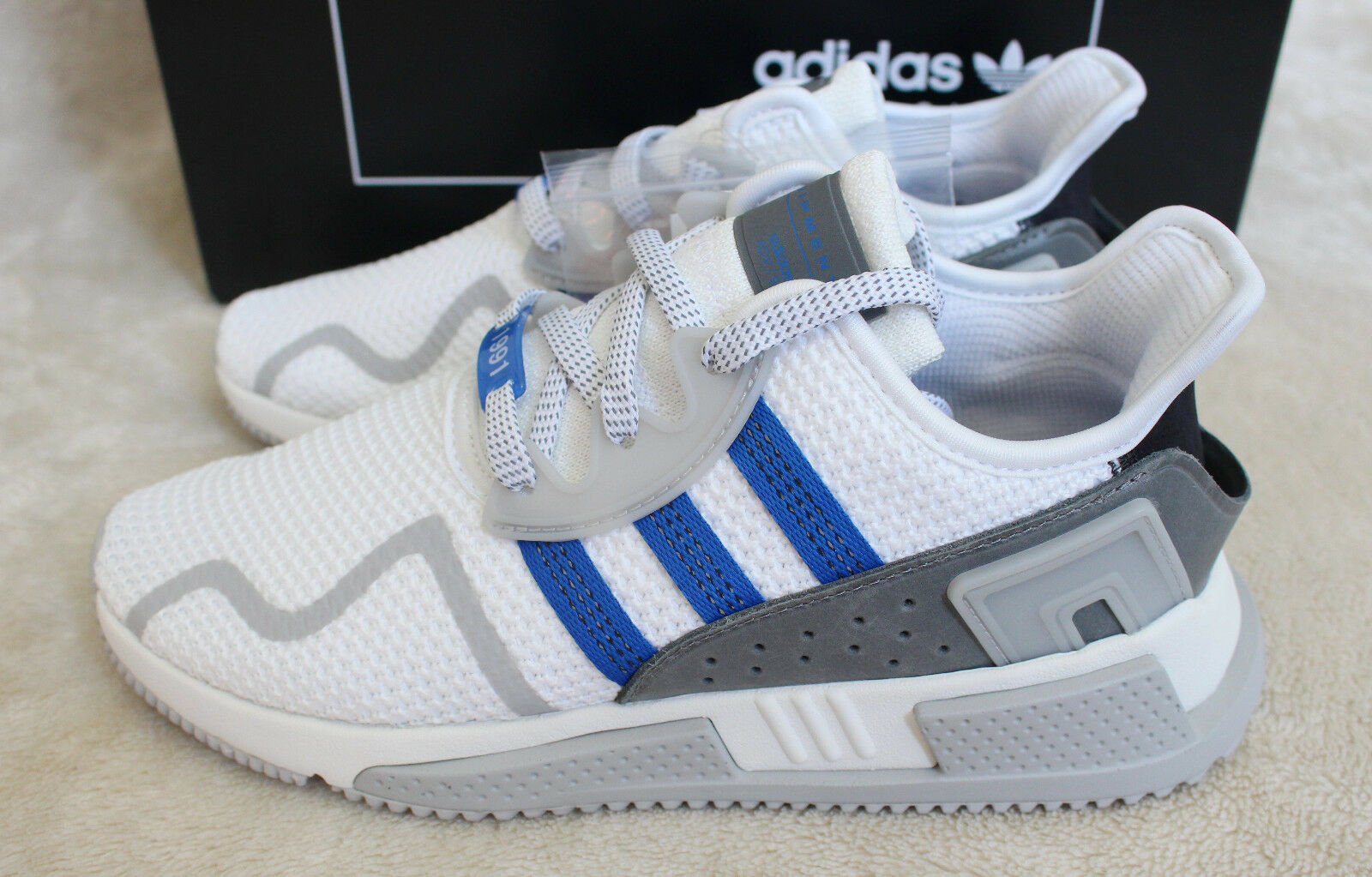 New Adidas EQT Cushion ADV 1991 Europe Exclusive blanc Bleu9 US 9.5 Free Bag