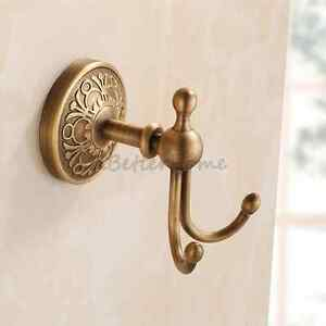 Image is loading Antique-Brass-Wall-Mount-Clothes-Robe-Door-Hanger- & Antique Brass Wall Mount Clothes Robe Door Hanger Bathroom Dual ...