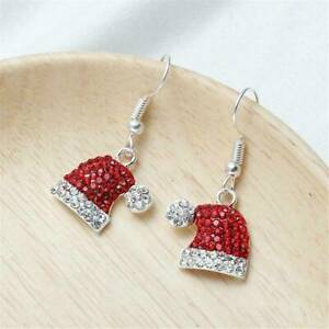 Christmas-Xmas-Crystal-Red-Santa-Hat-Stud-Earrings-Womens-Party-Jewelry-Gift