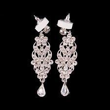 Wedding Crystal Cluster Teardrop Earring Rhinestone Chandelier Bridal Earrings