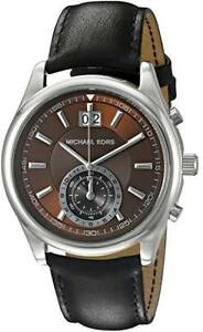 d5341a7cd99e Michael Kors MK 8415 Aiden Chronograph Brown Dial Black Leather ...