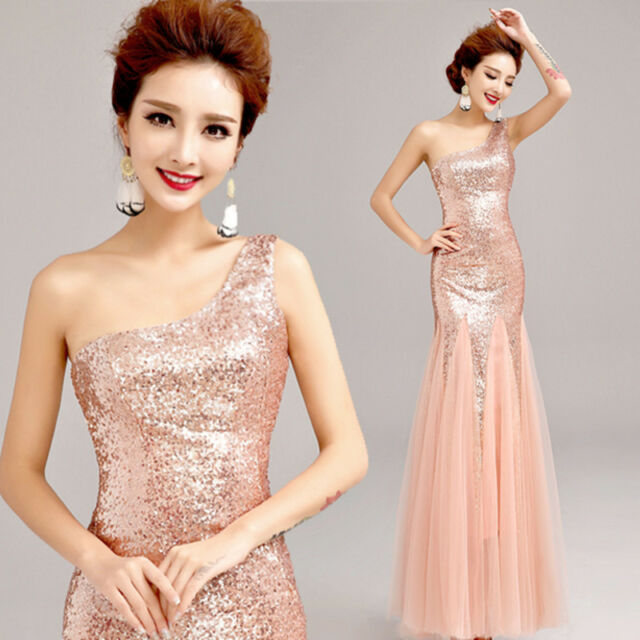 One Shoulder Formal Evening Prom Bridesmaid Dress Mermaid Ballgown Sequins CO145