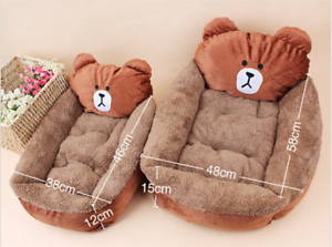 Cartoon-Animal-Frog-Bear-Pet-Cat-Small-Dog-Soft-Bed-House-S-XS-Brown-D01