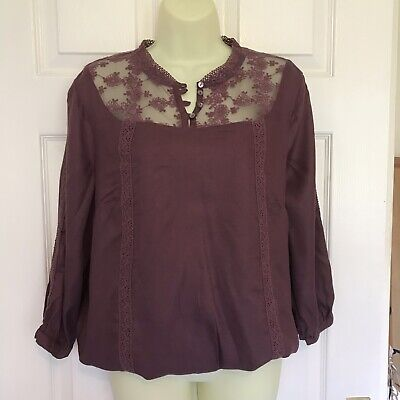 BNWT Red Falmer Heritage Lace Bell Sleeve Blouse Top  12 16 18