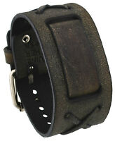 Nemesis Bfxbb Charcoal Brown Criss Cross Wide Leather Cuff Watch Wrist Band