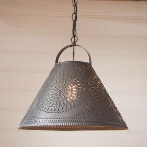 Homestead Punched Tin Shade Light Pendant Light/Country Primitive ...