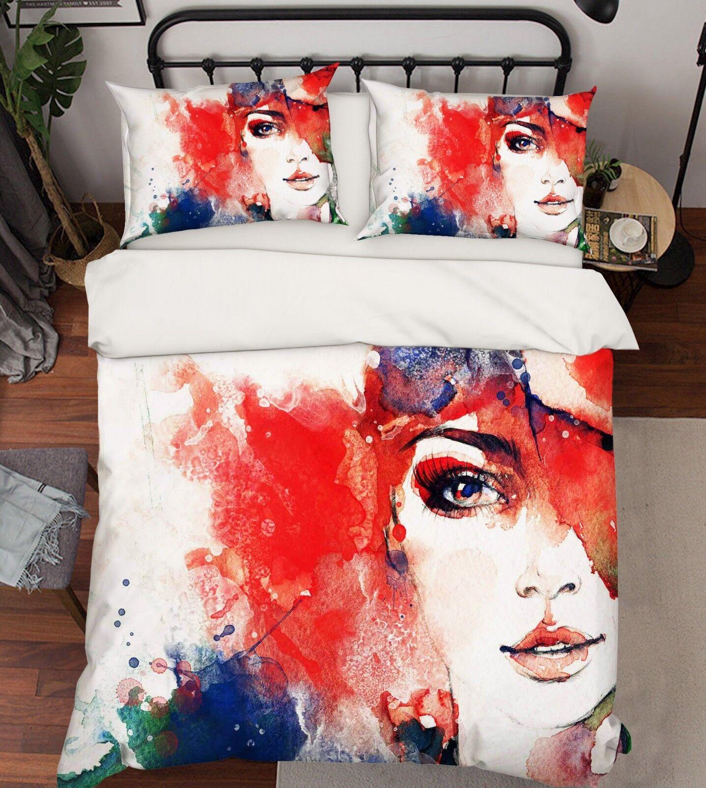 3D Couleur Girl Draws78 Bed PilFaiblecases Quilt Duvet Cover Set Single Queen King CA