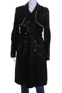 Chanel Womens Leather Double Breasted Beaded Coat Black Size 40 European