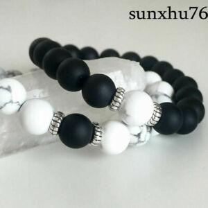 Yin-Yang-Matte-Agate-White-Howlite-Beaded-Bracelet-His-and-Her-Couples-Bracelets