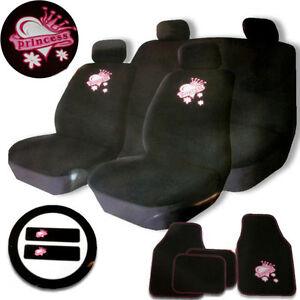 Image Is Loading 15PC CAR SEAT COVER SET BLACK PINK PRINCESS